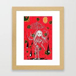 girl in rain Framed Art Print