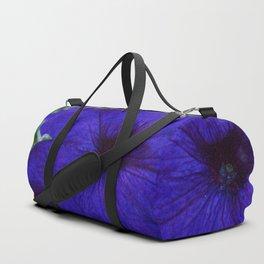 Blue Petunia Flower Macro Watercolor Duffle Bag