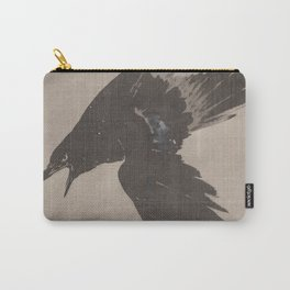 Crow Flying in the Snow by Kawanabe Kyosai Carry-All Pouch