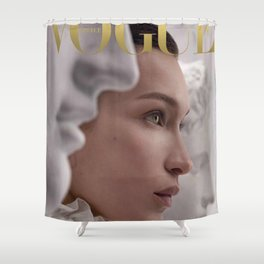 Bella Hadid Covers Shower Curtain