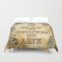 bible verse Duvet Covers featuring Bible Verse Steampunk Way Truth Life by Whimsy and Nonsense