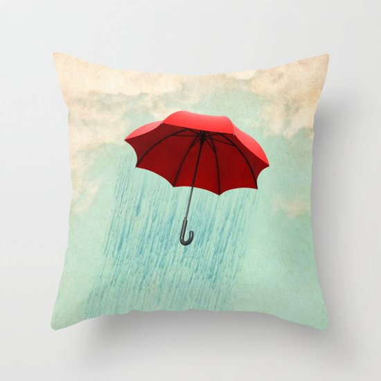 red rain Throw Pillow