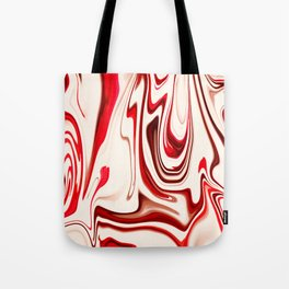 White and Red Liquid Marble Swirling Pattern Texture Artwork #7 Tote Bag