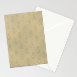 Gold Metal Pineapple Stationery Cards