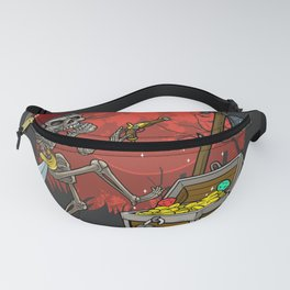 The skeleton pirate and the treasure, halloween party illustration Fanny Pack