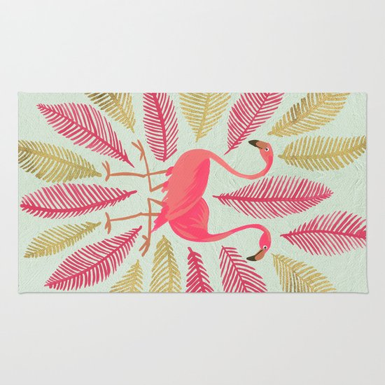 Flamingos – Pink & Gold Rug By Cat Coquillette