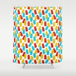 Red, Yellow and Blue Gummy Bear Candy Shower Curtain