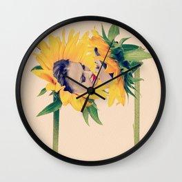 Quiverish Sunflower Kiss 2 - Erotic Collage Art Wall Clock