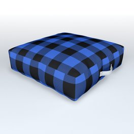Royal Blue and Black Lumberjack Buffalo Plaid Fabric Outdoor Floor Cushion