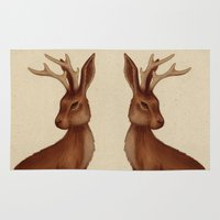 jackalope Area & Throw Rugs featuring Jackalope by Sarah DC