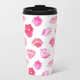 Watercolor pink lips pattern Travel Mug