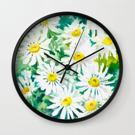Chamomile Flowers, Herval design Field flowers wild flowers floral art Wall Clock