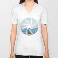 focus V-neck T-shirts featuring focus by iulia pironea