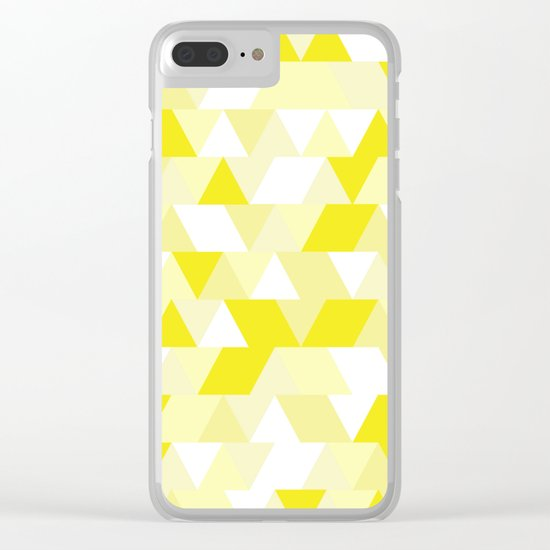 Simple Geometric Triangle Pattern- White on Yellow- Mix & Match with Simplicity of life Clear iPhone Case