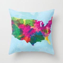 Watercolor U.S.A. Map Throw Pillow
