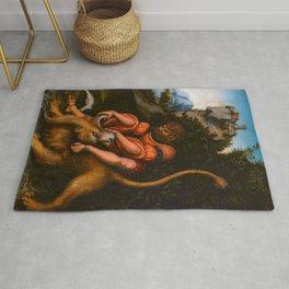 """Lucas Cranach the Elder """"Samson's fight with the Lion / Samson battling with the lion"""" Rug"""