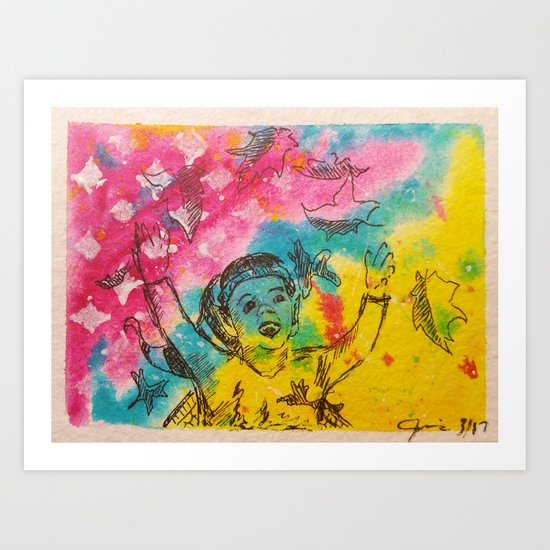 Everyone Loves Fall ( Fairy Playing in Leaves ) Art Print