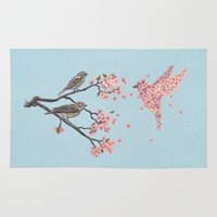 nature Area & Throw Rugs featuring Blossom Bird  by Terry Fan