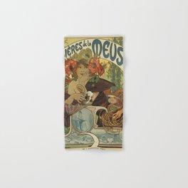 Alfons Mucha art nouveau beer ad Hand & Bath Towel