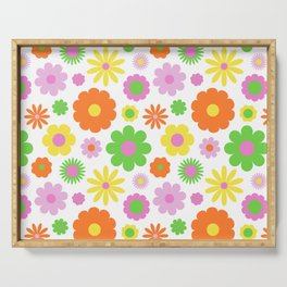 Vintage Daisy Crazy Floral Serving Tray
