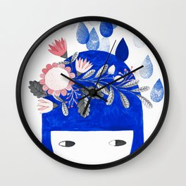 blue girl with raindrops and floral watercolor Wall Clock