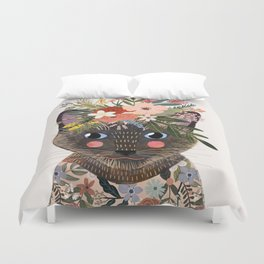 Siamese Cat with Flowers Duvet Cover