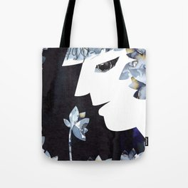 Portrait of a Woman Smelling Flowers Tote Bag