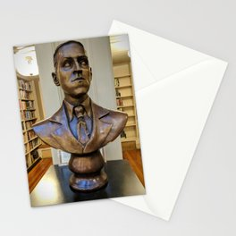 H.P. Lovecraft Master of Horror & Cthulhu Copper Bust at Providence Athenaeum Library  Stationery Cards