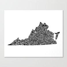 Typographic Virginia Canvas Print