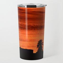 Blood Orange Sunset Over Small Desert Town Travel Mug