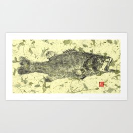 Large Mouth Bass yellow Art Print