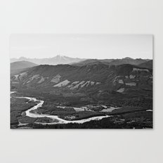 River in the Mountains B&W Canvas Print