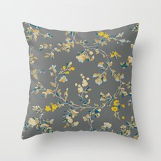 vintage floral vines - greys & mustard Throw Pillow
