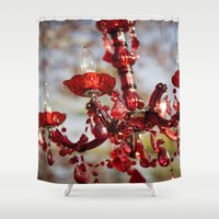 chandelier Shower Curtains featuring Red Chandelier by Emily Lewin