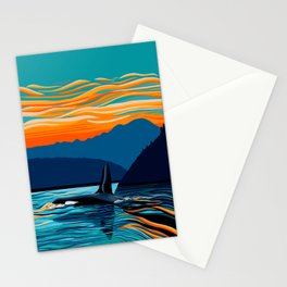 Orca into the Fire Sky Stationery Cards