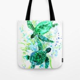 Sea Turtles Underwater Scene Turquoise Blue design, bright blue green design Tote Bag
