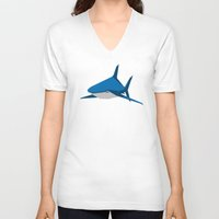 shark V-neck T-shirts featuring Shark by Mr. Peruca