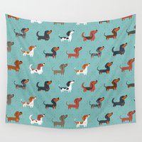 dachshund Wall Tapestries featuring DACHSHUND by DoggieDrawings