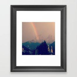 rainbow in mountains Framed Art Print