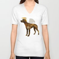 puppies V-neck T-shirts featuring puppies by shrewmole