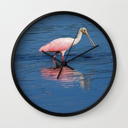 Roseate Spoonbill at Ding II Wall Clock