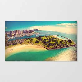 Ala Moana Beach Park, Magic Island, and Diamond Head  Canvas Print