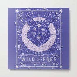 Wild & Free Wolf – Periwinkle Metal Print