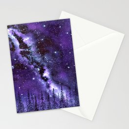 """Purple & Payne's Grey Milky Way Galaxy"" watercolor landscape painting Stationery Cards"