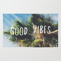 good vibes Area & Throw Rugs featuring good vibes by Hillary Murphy