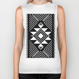 Aztec boho ethnic black and white Biker Tank
