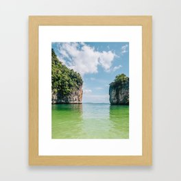 Crystal Waters and White Limestone Cliffs in Thailand Fine Art Print Framed Art Print