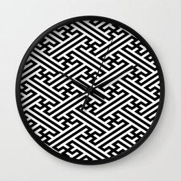 Sayagata - Japanese Traditional Pattern - Black Wall Clock