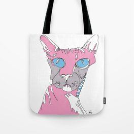 Blue Eyed Hairless Cat Tote Bag