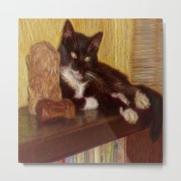 Little Black Rainbow Cat Metal Print